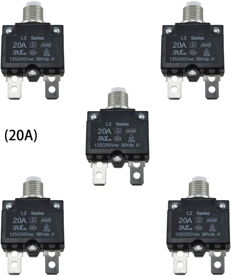KOOBOOK 5Pcs 5A 10A 20A Push Button Resettable Thermal Circuit Breaker Current Overload Protector Panel Mount DC50V AC125//250V 10A