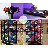 HOHO Purple Colorful Window Tinting Film Self Adhesive Stained Glass Stickers,90cmx3000cm