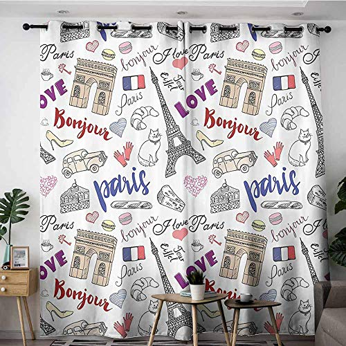 Onefzc Curtains for Living Room,Eiffel Tower Decor Collection Triumph Arch Fashion Items Shoes Gloves Traditional Food Cheese Bread Keys Cat Image,Blackout Draperies for Bedroom,W84x72L,Purple