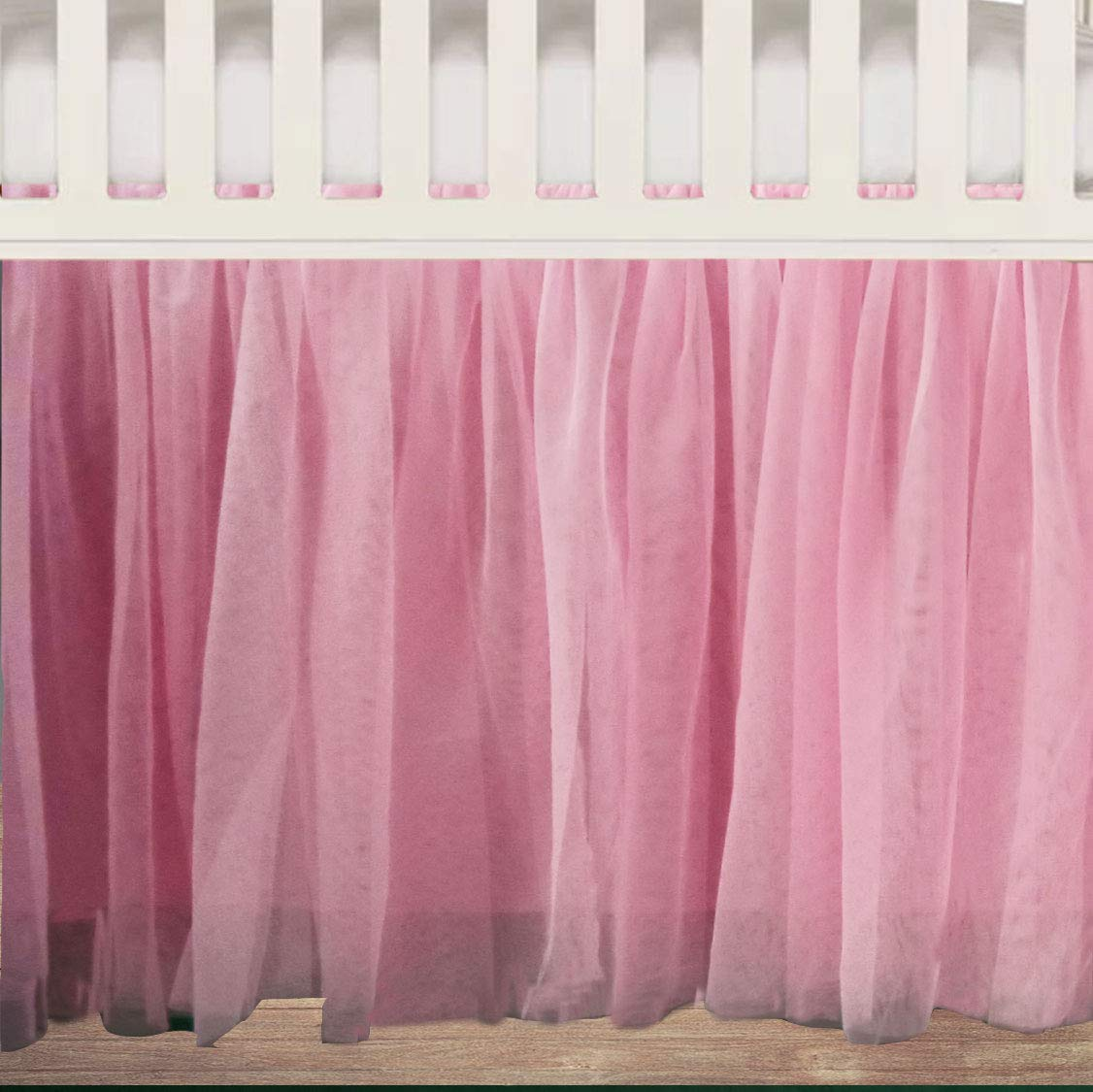 White Tulle Ruffled Lined Crib Skirt 16 Inch Drop 3 Sided