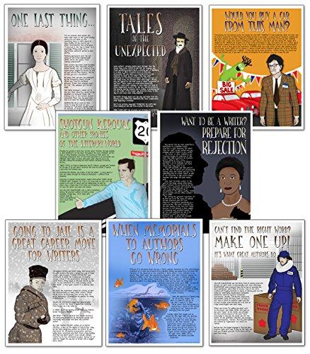 (Famous Author Mini Educational Poster Series. English Literature Art Prints. Featuring: Jack Kerouac, Kurt Vonnegut, Phillis Wheatley, Emily Dickinson, Edgar Allan Poe, J.D. Salinger, William Shakespeare, more)
