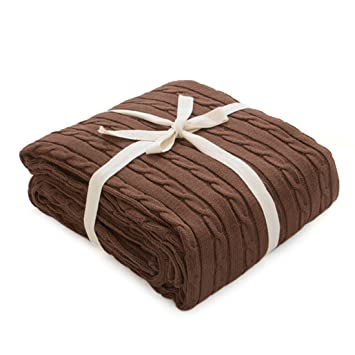 Amazon.com: Yuena - Manta de punto para sofá o cama, algodón ...