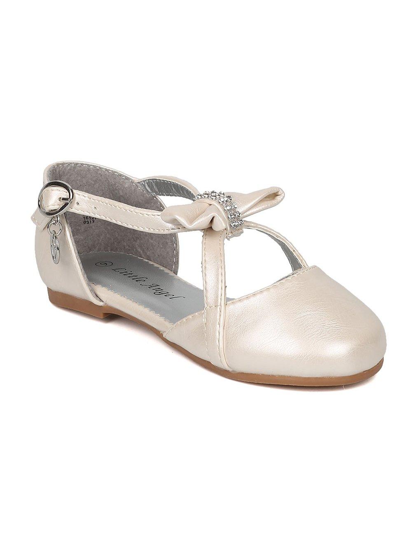 Alrisco Little Angel HB75 Girls Rhinestone Bow Tie Charmed Key Hole Flat HB76 - Ivory Leatherette (Size: Toddler 9)