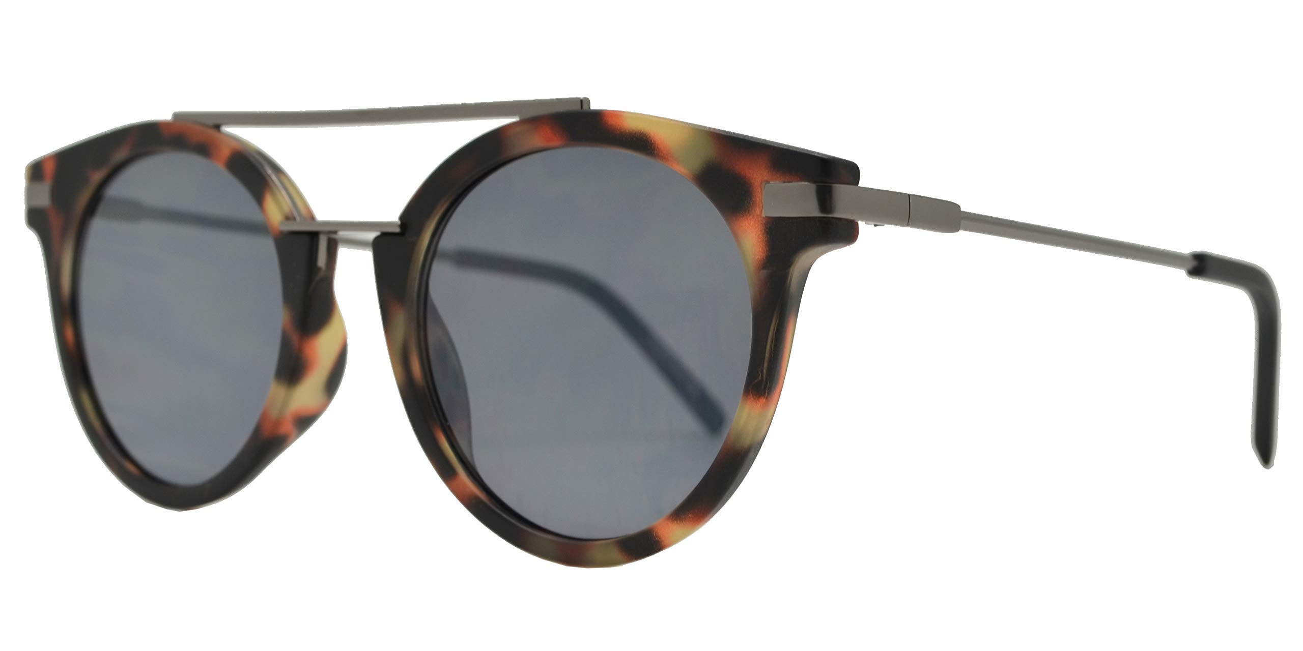 Retro Vintage Round Flat Lens Horn Rimmed Sunglasses with Metal Brow Bar (Tortoise + Smoke) by Froya