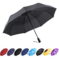 YumSur Compact Travel Umbrella - Windproof, Reinforced Canopy, Tested in 60mph Winds, 10 Ribs Reinforced Windproof Umbrella, One Touch Auto Open/Close Multiple Colors for Men & Women