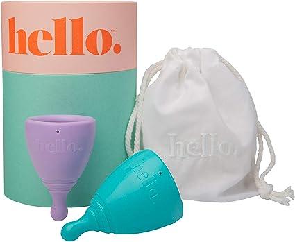 The Hello Cup - Taza menstrual reutilizable (tamaño XS), color lila y azul