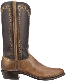 product image for Lucchese N1685.R3 Stanley Goat Leather Covered Side Seams with Geometric Stitch Pattern, Pearl Bone (11 EE)