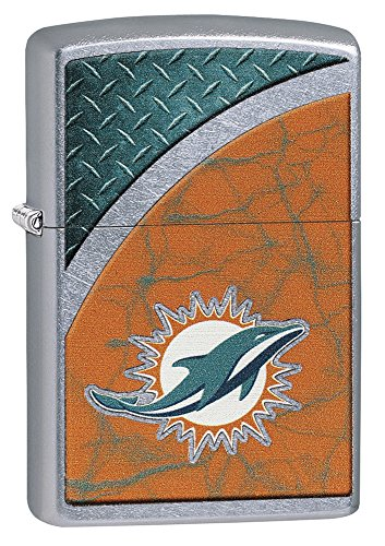 Zippo NFL Miami Dolphins Street Chrome Pocket Lighter -