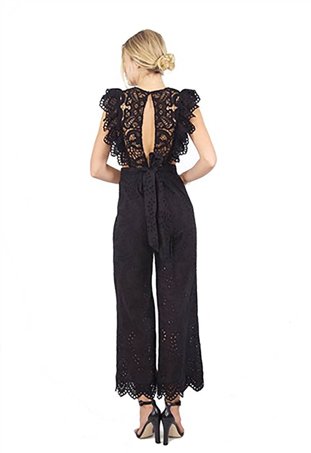 24d16f1b4f8 Nightcap Clothing Eyelet Apron Jumpsuit in Black (Large)  Amazon.ca   Clothing   Accessories