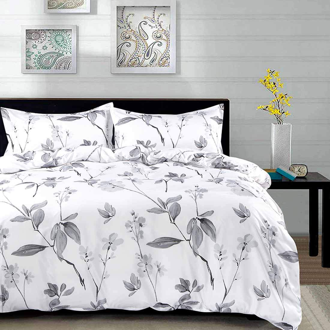 NANKO Duvet Cover Queen Set, 3 Piece - 90 x 90 Luxury Microfiber Down Flowers Comforter Quilt Cover with Zipper, Ties - Best Modern Bedding for Men Women Bed, White Green Floral Leaf