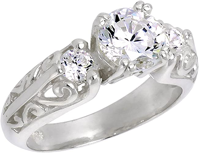 Sterling Silver Vintage Style Band Ring w// Brilliant Cut Cubic Zirconia Stones