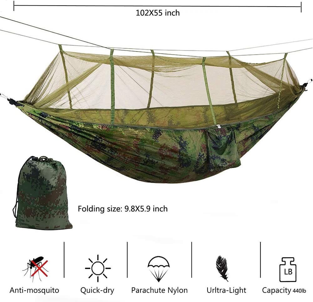 KEPEAK Single /& Double Camping Hammock with Mosquito Net and Tree Straps Camping Yard Lightweight Nylon Portable Hammock Beach Best Parachute Hammock for Backpacking Travel