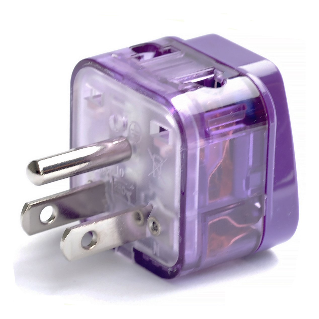 AC POWER TRAVEL ADAPTER PLUG FOR USA US CANADA SOUTH & NORTH AMERICA / WITH DUAL PLUG-IN PORTS AND SURGE PROTECTION / GROUNDED