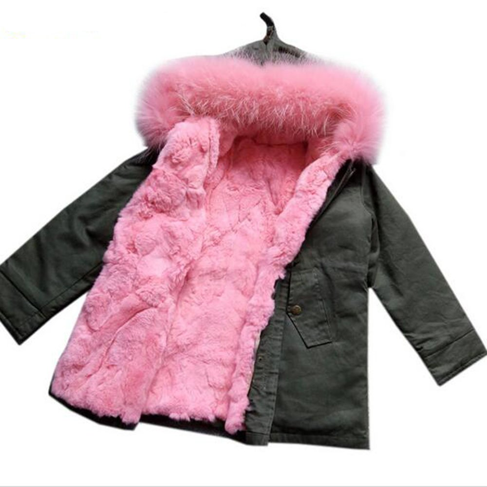 Girls Fur Coat Baby Girls Outerwear Rabbit Fur Kids Coats Baby Gift Kid Christmas Gifts (7-8T, Pink)