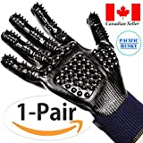 Pacific Husky Pair Of Pet Grooming Gloves - Gentle Deshedding Brush Glove with Soft Rounded Nubs & Adjustable Wrist Strap – Flexible Mitts For Deshedding, Bathing, Massaging & Hair Removal (Black - Navy Blue) (L, Blue)
