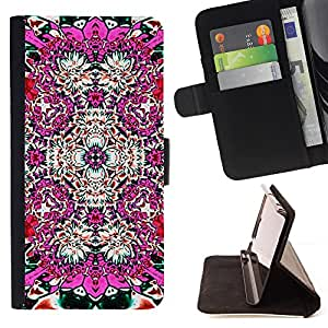 - Abstract Pink Floral Tile Art - Estilo PU billetera de cuero del soporte del tir???¡¯????n [solapa de cierre] Cubierta- For LG G2 D800 £¨ Devil Case £©