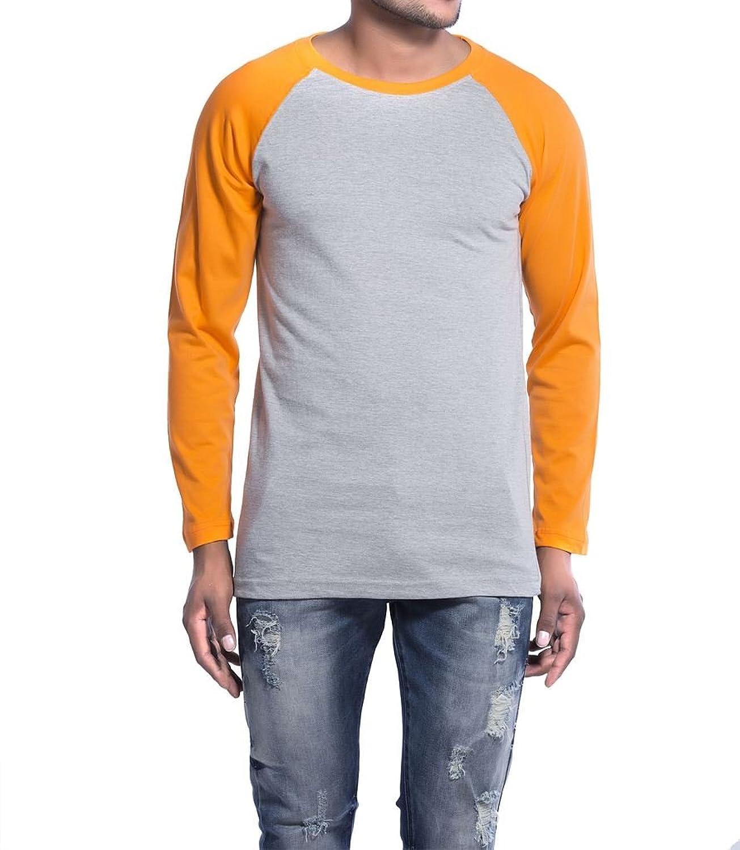 Clifton Mens Raglan Full Sleeve R-Neck T-Shirt-Grey Melange/Bright Orange