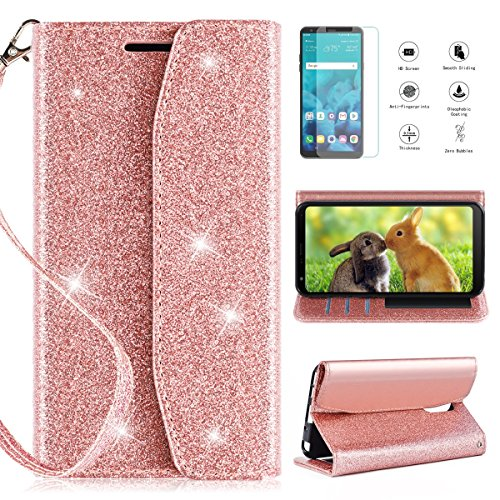 LG Stylo 4 Wallet Case 2018,LG Stylus 4 Wallet Case with HD Screen Protector,CaseRoo [Kickstand] [Card Slots] [Wrist Strap] 2 in 1 Glitter Magnetic Flip PU Leather Cover with Cosmetic Mirror-Rosegold For Sale