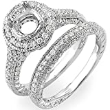 1.00 Carat (Ctw) 14k White Gold Diamond Antique Vintage Look Semi Mount Bridal Ring Set (No Center Stone)