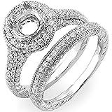 1.00 Carat (ctw) 14K White Gold Round Cut Diamond Semi Mount Bridal Engagement Ring Set (Size 7)
