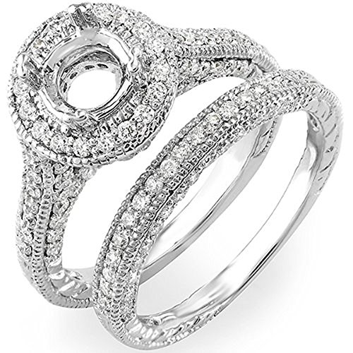 Dazzlingrock Collection 1.00 Carat (ctw) 14K Round Cut Diamond Semi Mount Bridal Engagement Ring Set, White Gold, Size 5