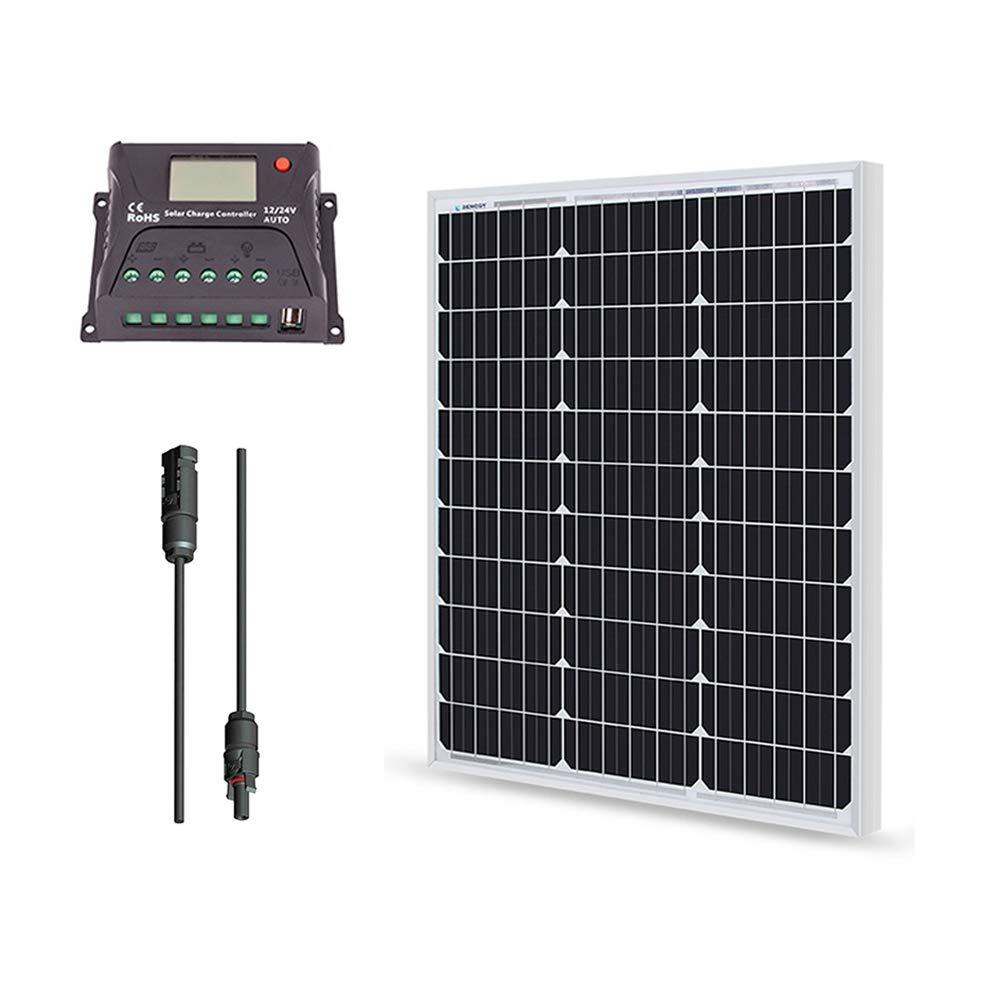 Renogy 50 Watt 12 Volt Monocrystalline Solar Bundle Kit with 10A PWM LCD Charge Controller