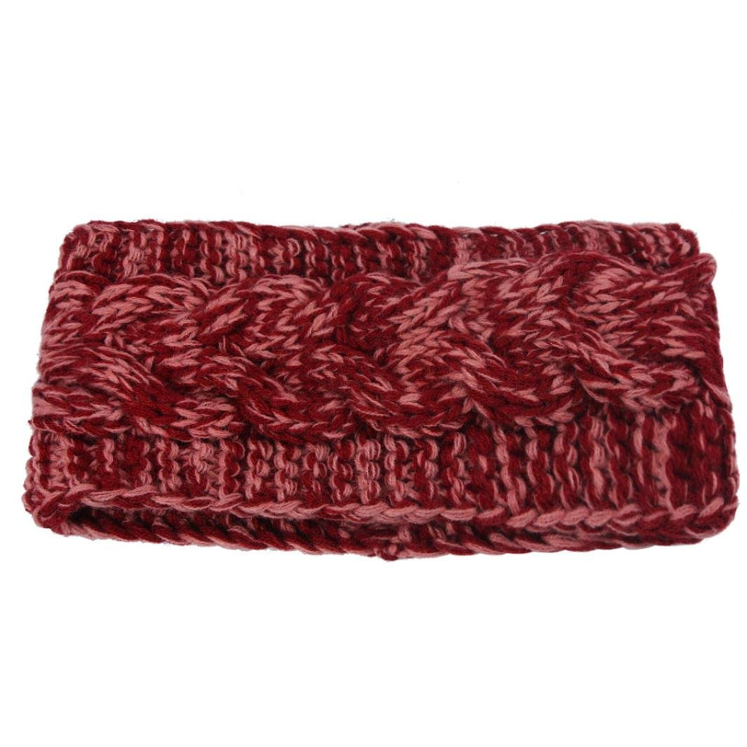 Susenstone®Winter Women Ear Double Color Headband Knit Flower Hairband Susenstone®_1336
