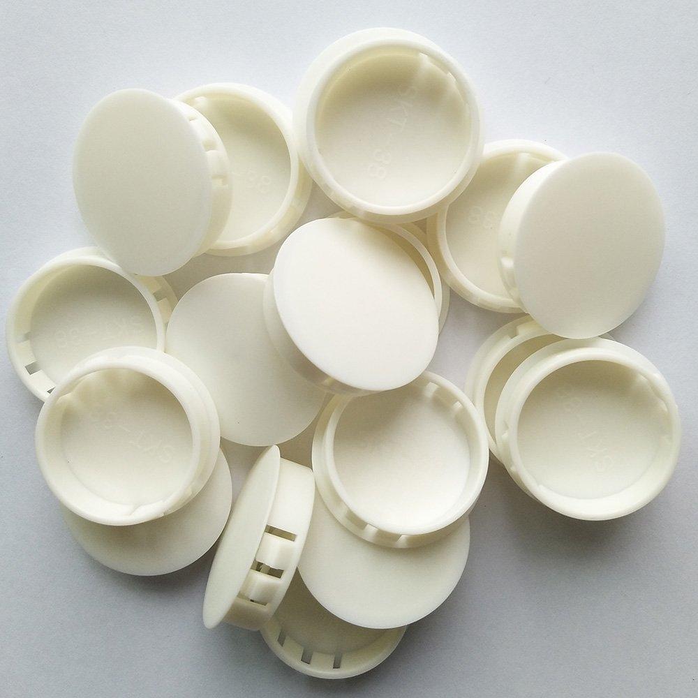 YEJI 25PCS 1-1/2'', 38mm, 1.5in Panel Plugs Hole Plugs (Mounting Hole: 37.8-38.6mm), Plastic Flush Type Hole Plugs, Home Furniture Fastener, Plastic Pipe Choke Plug, White Color