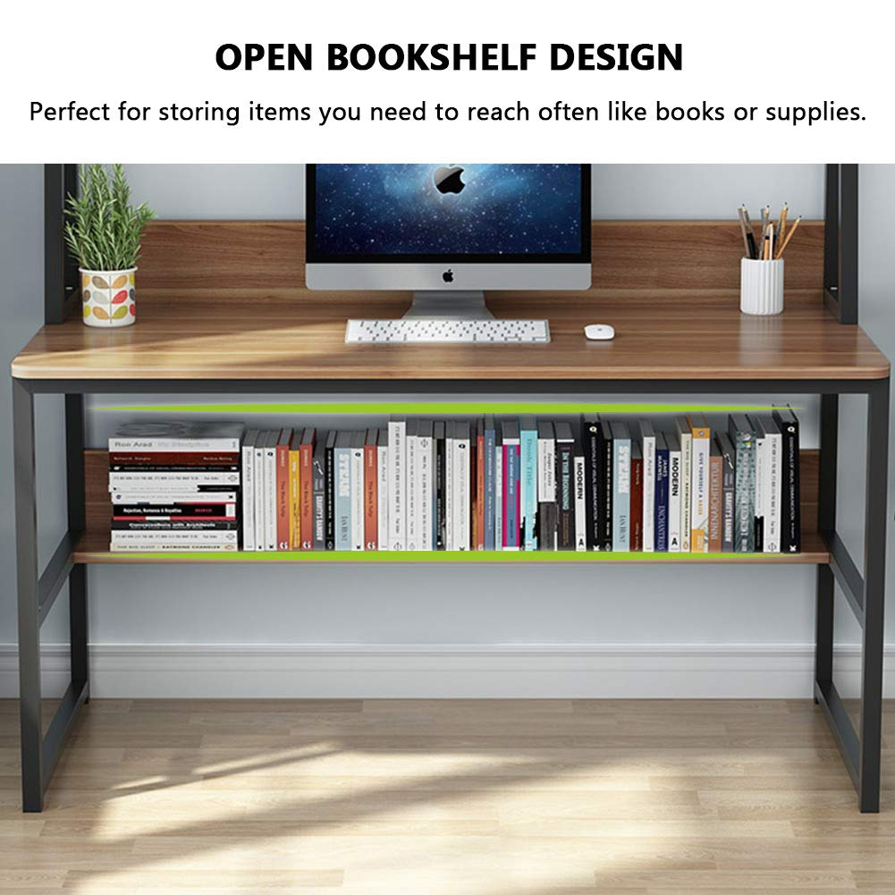 - Tribesigns 47 Inches Computer Desk & Bookshelf Hutch Home Office
