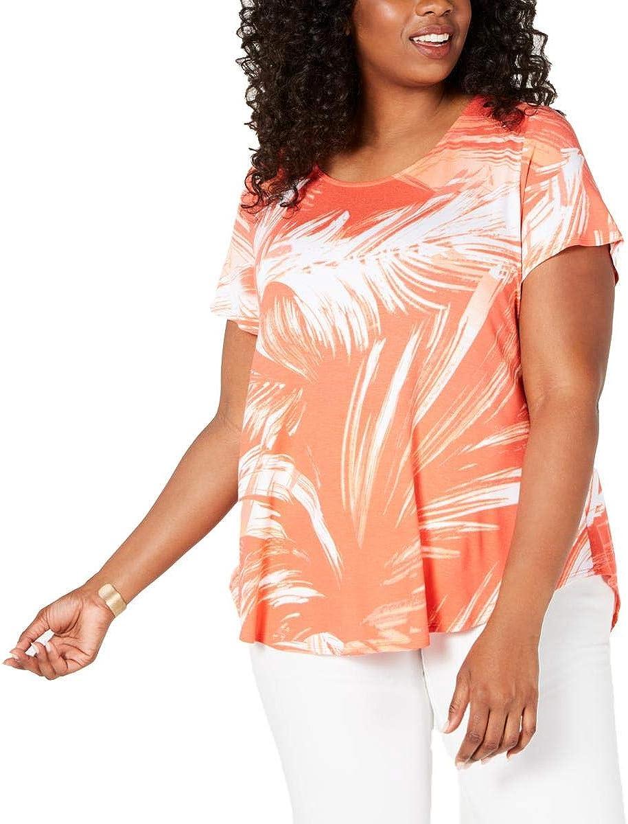 Alfani Womens Plus Knit Pinted T-Shirt