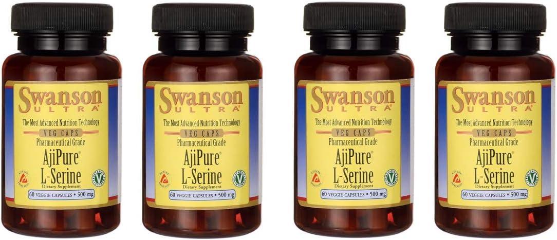 Swanson Ajipure L-Serine Pharmaceutical USP Grade High Purity Amino Acid Dietary Supplement 500 mg 60 Veggie Capsules 4 Pack