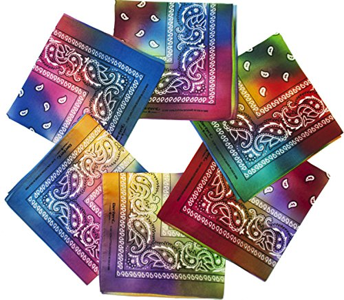 Bandana, 12 Pack 100% Cotton Bandanas for Women Men with Paisley, Flags & More (Light Rainbow Mix)