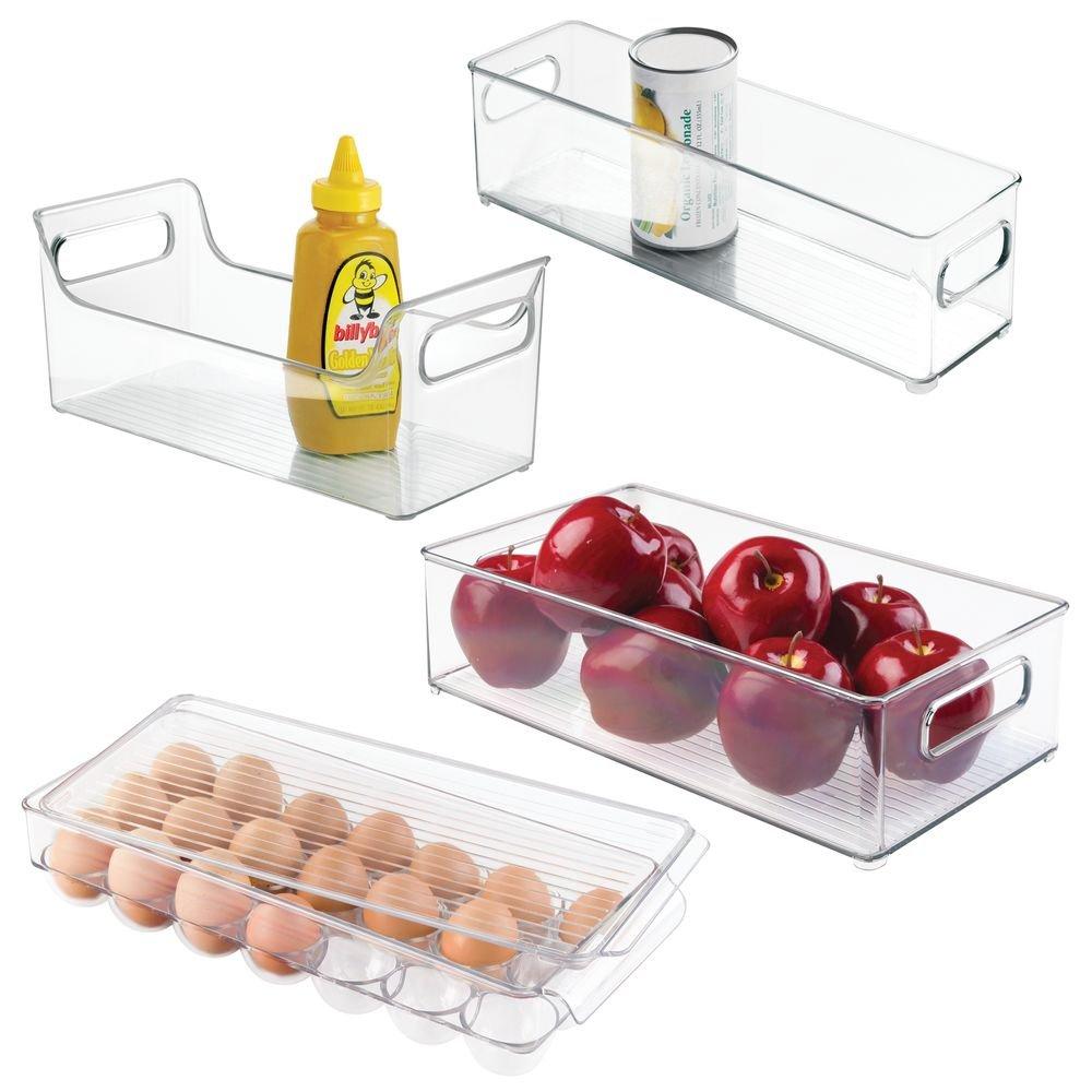 4-Piece Fridge, Freezer Binz Set: Egg Holder, Condiment Caddy with Handles for Kitchen Storage Organization - Clear by InterDesign