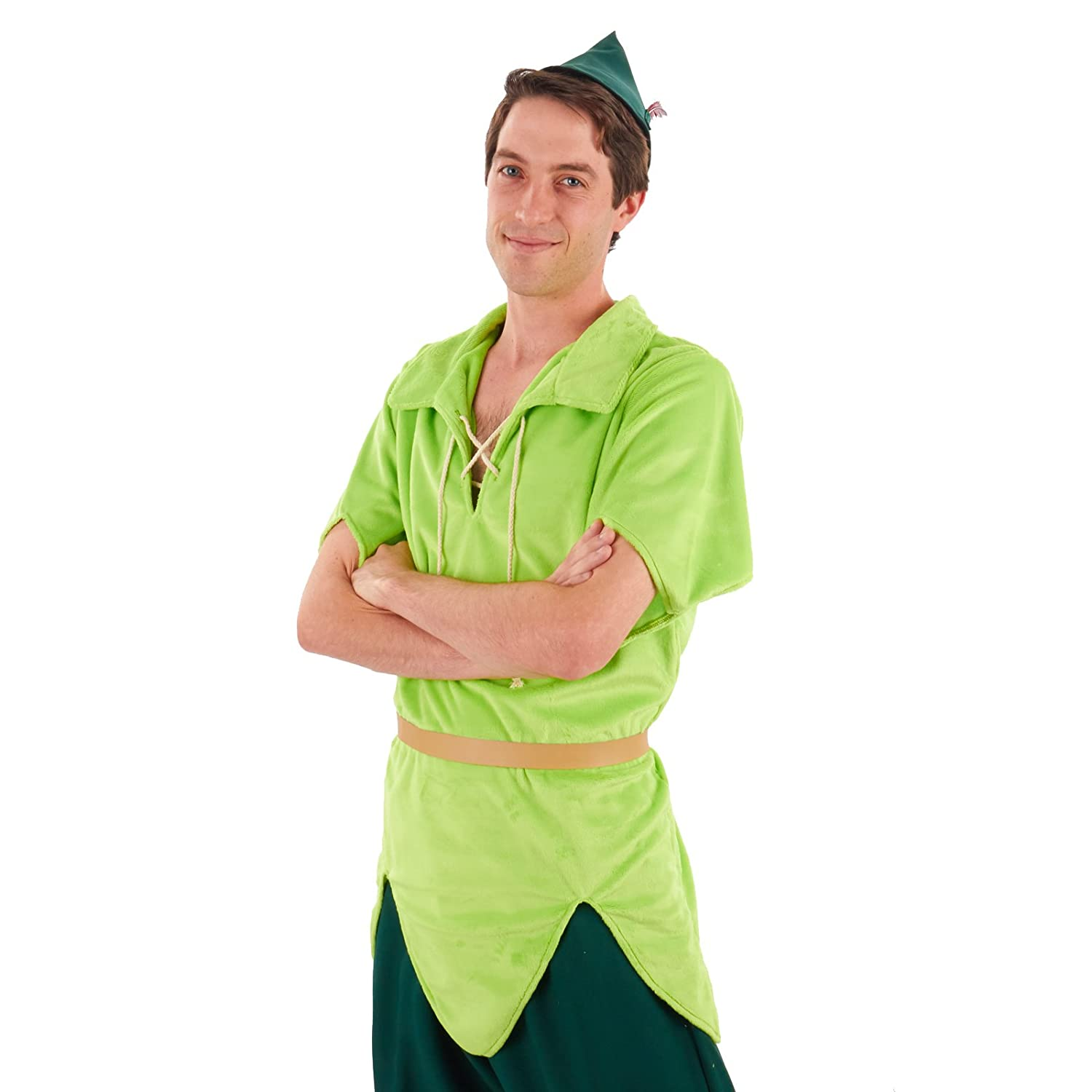 Men/'s Classic PETER PAN Lime Green Tunic Hat Elf Costume Adult