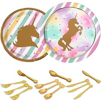 Shinelee Fiesta Unicornio Cumpleaños, Platos de Cena Platos ...