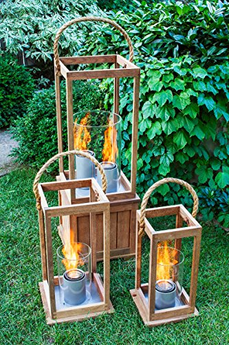 Terra Flame 700953164537 Cape Cod Collection Lantern, Medium-21in, Teak Wood