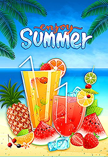 Morigins Summer Fun 28x40 Inch Decorative Fruit Juice Beach Party House Flag