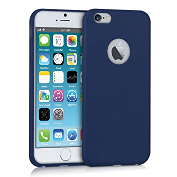 kwmobile Funda para Apple iPhone 6 / 6S - Carcasa para móvil en TPU Silicona - Protector Trasero en Azul Oscuro Mate