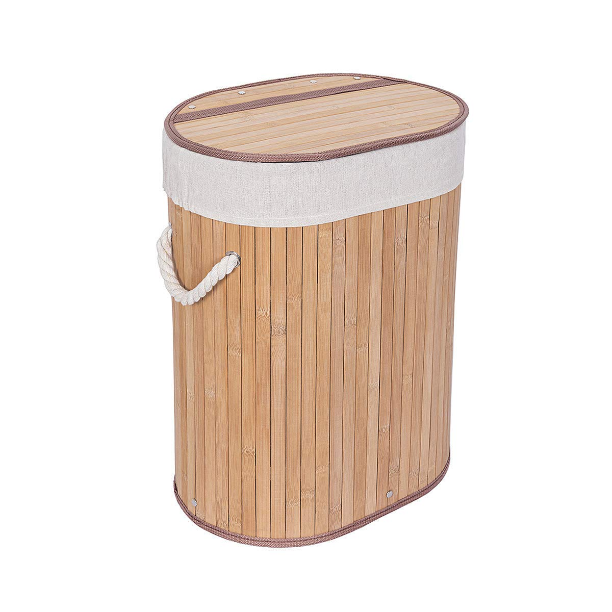 WOWLIVE Bamboo Laundry Hamper Lid Laundry Basket Rectangular Collapsible Organizer Dirty Clothes Washing Bin (42L)