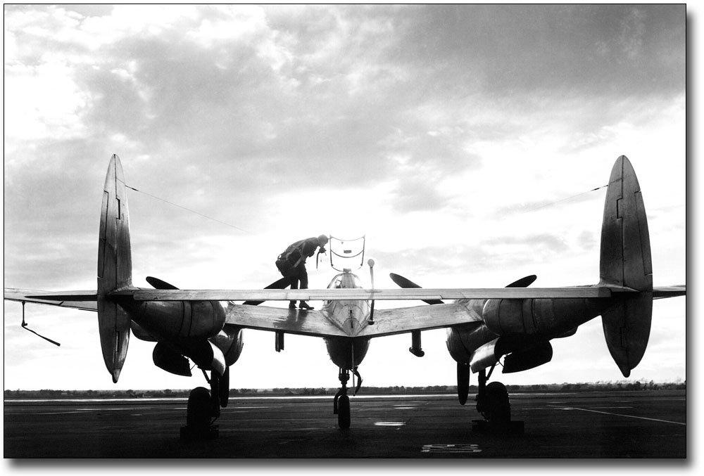 Lockheed P-38 Lightning at Sunset 8x12 Silver Halide Photo Print B004IG5V06