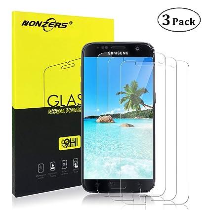 NONZERS Panzerglasfolie für Galaxy S7, [3 Stück] 9H Härte, Anti-Kratzen, Anti-Öl, Anti-Bläschen, Kratzer und Fingerabdrücke 3