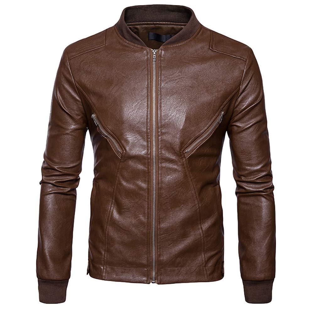 Men's Jacket for Men Autumn Winter Leather Biker Motorcycle Zipper Coat,Top Coat (M,Khaki)