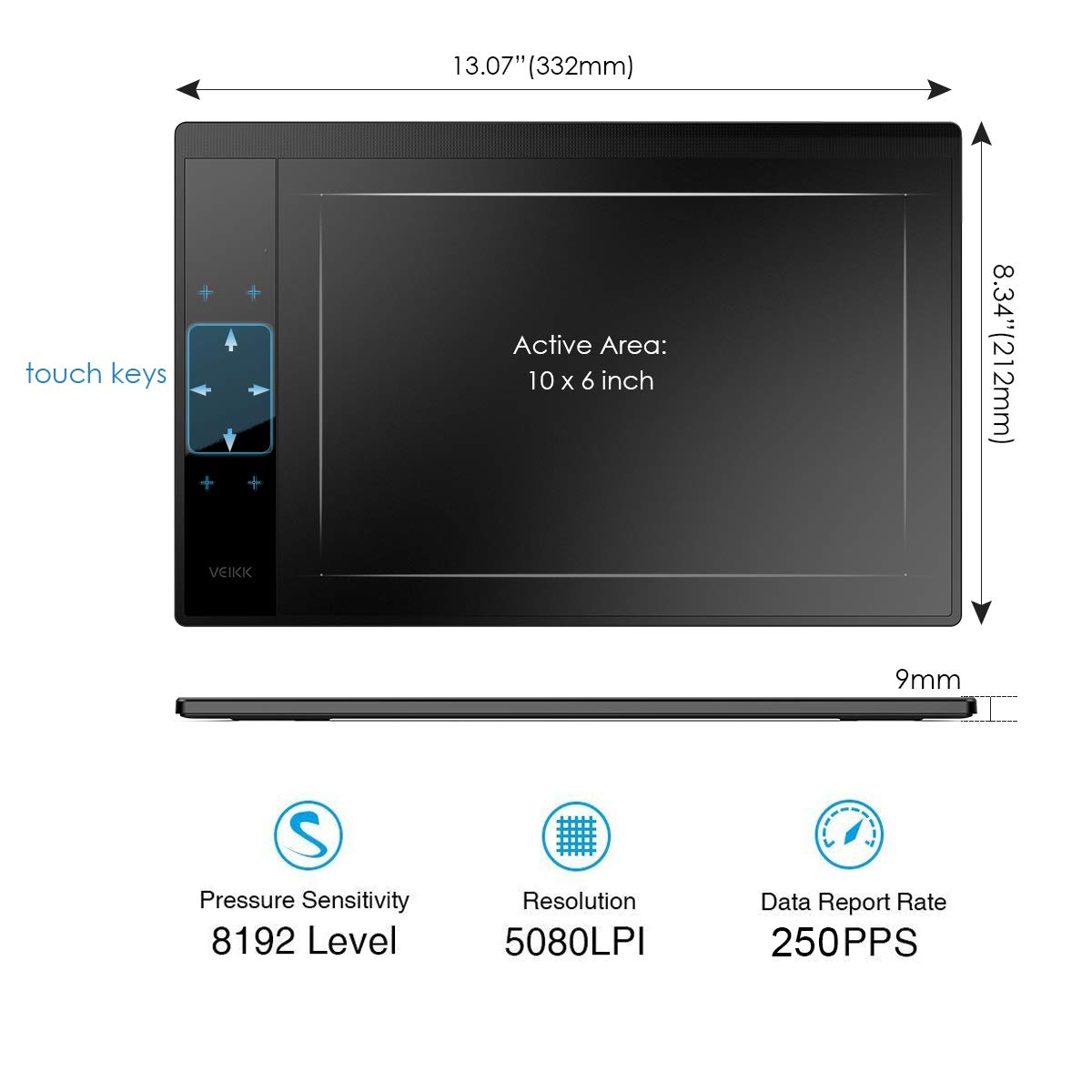 VEIKK A30 Graphics Drawing Tablet with 8192 Levels Battery-Free Pen 10 x 6 Active Area