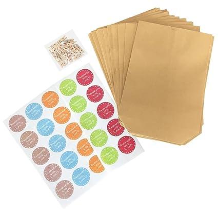 Bolsas para regalo estilo natural (75 piezas,25 bolsas de regalo + 25 pegatinas en 5 colores pastel + 25 mini soportes de madera. Bolsa para regalos ...