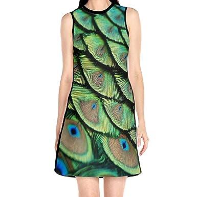 b07b9dda9c9 TYTland Peacock Feather Women Causal Sleeveless Dress Loose Mini T-Shirt  Dress at Amazon Women s Clothing store