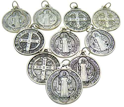 Set of 10 St Benedict Medals 7/8 Inch Metal Saint Pendant Bulk Lot ()