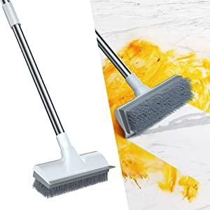 """Qipi Floor Scrub Brush, Cleaning Brush with Long Handle Adjustable 50"""" Deck Brush, 2 in 1 Scraper and Brush, Suitable for Cleaning Shower Bathrooms, Kitchens, Carpet, Swimming Pools, Walls"""