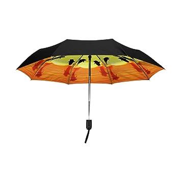 aideess exterior negro paraguas delfín Sunset saltar UV anti ligero sombrilla elegante reverso 3 plegable gota