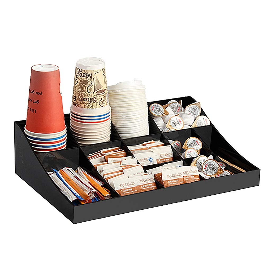 HOUSHIYU-521 11 Compartment Coffee Condiment Organizer, Coffee Cup Dispenser Or Lid Holder, Arylic Material, for Coffee Cups, Paper Towel and Coffee Capsule, Etc