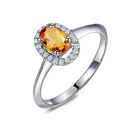 6264637cf6c3 Anyeda Damen Ring 925 Sterling Silber Ovaler Gelber Zirkonia Ring ...